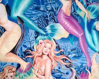 One (1) Yard -Sea Sirens Mermaid Print on Blue Pin Up Nudes Fabric by Alexander Henry 7825A