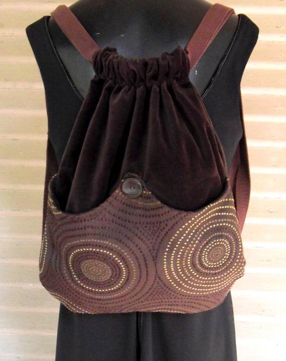 Sale!  Brown Backpack Crop Circles Brown Velvet Book Bag  Boho Backpacks School Backpack Piperscrossing