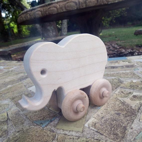 elephant animal wood push toy by manwood on Etsy
