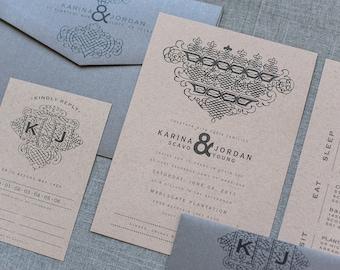 Industrial Kraft Wedding Invitation Suite, Vintage Silver and Casual Kraft |  Karina & Jordan