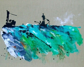 Sports Art Abstract Landscape Painting Water Sailing Kayak Blue Turquoise Catherine Jeltes