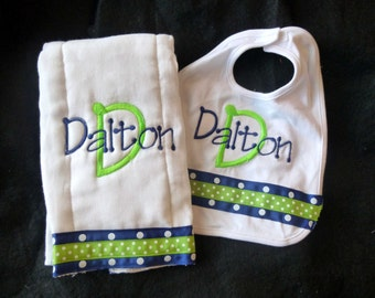 Monogrammed Bib and Burp Cloth Set - Navy Blue and Lime Green