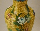 ASIAN CLOISONNE  Enamel VASE Round Decorative Floral Yellow background on copper 9 in tall As Found