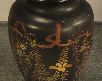 Art Nouveau Vintage VASE CERAMIC Japan  Black Gilt color great condition   app 12.5  in tall