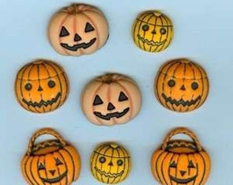 BUTTONS Pumpkins and Jack O Lanterns pack of 8