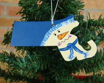 Massachusetts Snowman ornament