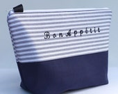 Insulated Lunch Bag Large Eco Friendly Zip Bon Appetit Navy Stripe Adult Lunch Bag by BonTons