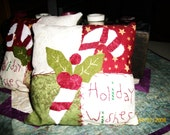 Set of 2 Candy Cane Patchwork Pillows