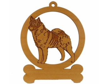 Norwegian Elkhound Ornament 083611 Personalized With Your Dog's Name