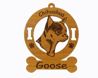 2112 Chihuahua Head 2 Personalized Wood Ornament