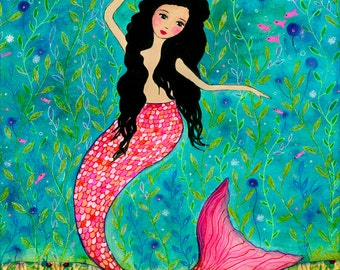 Dancing Mermaid Painting - Mermaid Art - Mermaid Wooden Art Block - Folk Art - Mermaid Wall Art - Mermaid Nursery Decor- Children Room Art