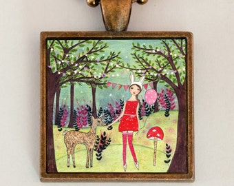 Whimsical Jewelry Girl and Deer Handmade Art Pendant Necklace