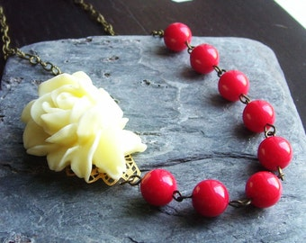 Red beaded necklace, cream rose necklace, asymmetric necklace, glass beaded necklace, rockabilly necklace
