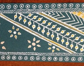 Handmade Bookmark -- Traditionally Teal -- Om Bead Laminated Original Art OOAK  Tassel -- 2.5 x 7.75 inches -- BKM-ORG-9
