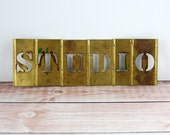 Brass Letter Stencils Word - S T U D I O - Studio Decor Sign