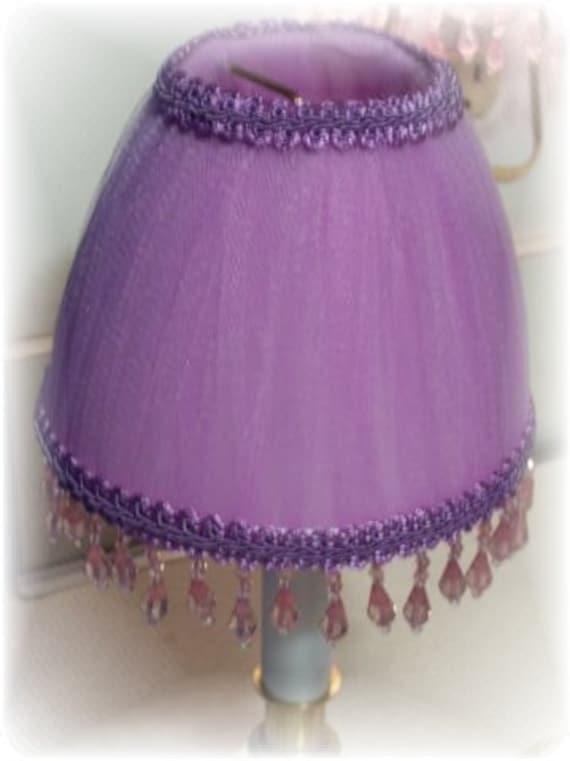 New purple lavender tulle beaded lamp shade girlie girls for Purple beaded lamp shade