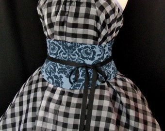 Navy and Periwinkle Cotton Waist Cincher Corset Belt B LAST ONE