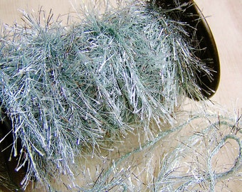 Pale Aqua Silver Tinsel cording trim- novelty garland, specialty glitter trimming, holiday gift wrap, sparkly twine- 5 yds