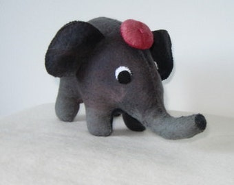 Elephant Wool Felt Toy Stuffed Animal Hand Stitched