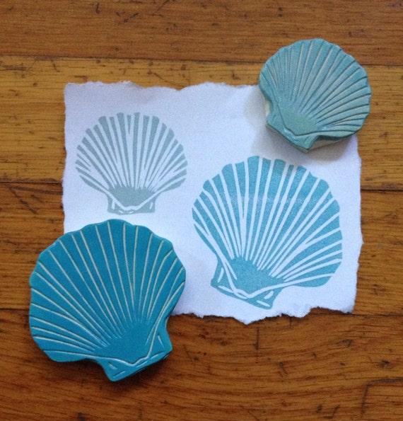 Hand Carved Sea Shell Stamp Set