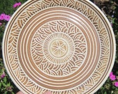 Serving Plate with Hand Carvings - See shop for more Handmade Pottery