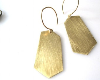 Organic Shapes Brushed Metal Earrings