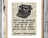 Ernest Hemingway Quote on Writing- Art Print on Vintage Antique Dictionary Paper