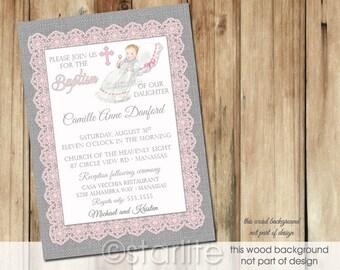 Baptism Invitation Vintage style Baby Girl - Princesa, Lace Burlap Pink Gray Christening, Unique Printable Invitation or Printed Invitations