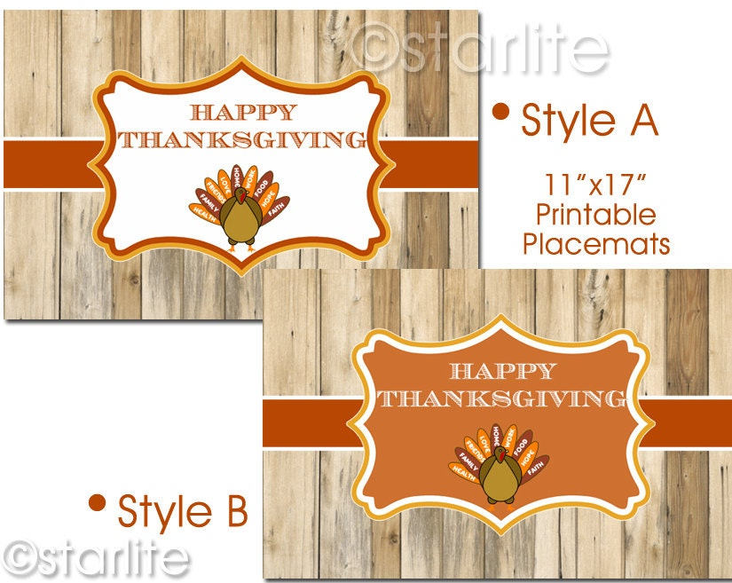 Printable Place mats Thanksgiving