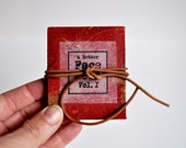 Mini Book Tiny Art Black and White Pen and Ink Drawing Portrait  Handmade