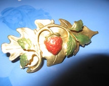 Strawberry barrettes hair clips Leaf barrette bridal hair jewelry Strawberrys barrette Strawberries hair jewelry