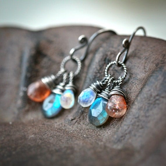 The Equinox  - Labradorite Moonstone and Sunstone Wire Wrapped Sterling Silver Earrings