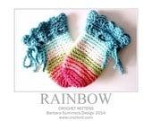 RAINBOW Crochet Mittens PATTERN Baby Newborn Gloves Instant PDF Download
