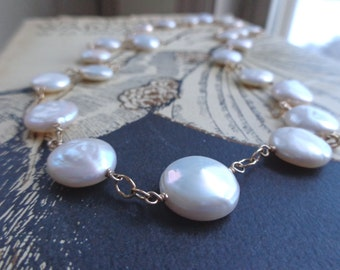 Long Pearl Necklace, Wire Wrapped Pearl Necklace in Gold.