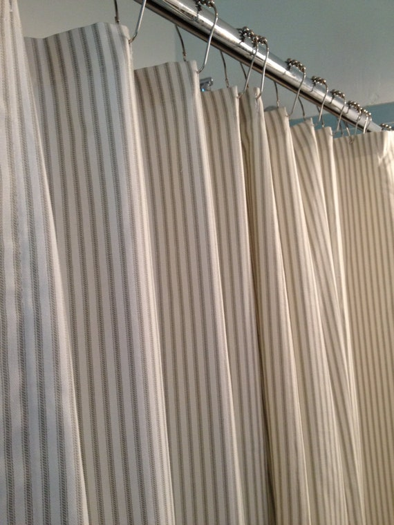 Elegant Ticking Stripe Shower Curtain Black, Brown, Grey, Navy Blue, Red 72x72  Custom Sizes Available