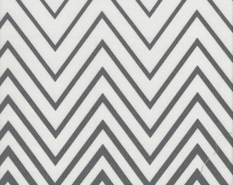 Gray And White Chevron Print 100% Cotton quilting Fabric