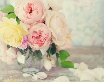 Still Life Photography - Romantic English Roses Bouquet Photo Peach Pink Yellow Rose Print Cottage Style Decor Floral Still Life Flowers