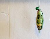 Fabric Peapod Charm - Peas in a pod ornament