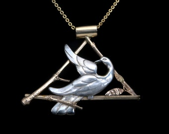 Dove on a Golden Branch Pendant