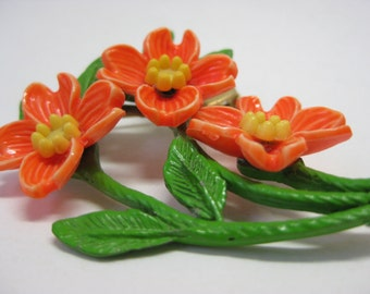 Flower Brooch Orange Yellow Green Plastic Pin Vintage
