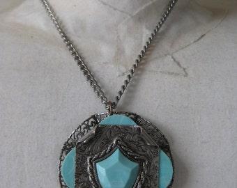 Aqua Turquoise Blue Necklace Shield Filigree Silver Pendant Vintage