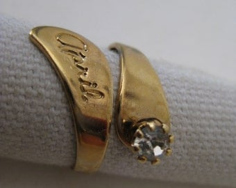 April Gold Ring Rhinestone Clear Vintage Adjustable