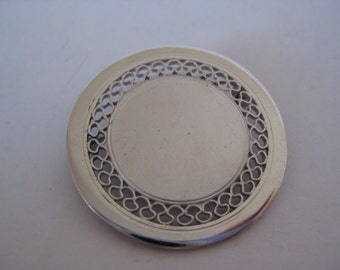Sterling Silver Filigree Blank Vintage Pin 925 Wells