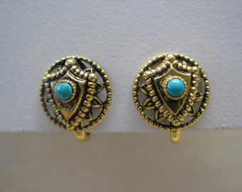 Turquoise Gold Shield Earrings Screw Filigree Vintage