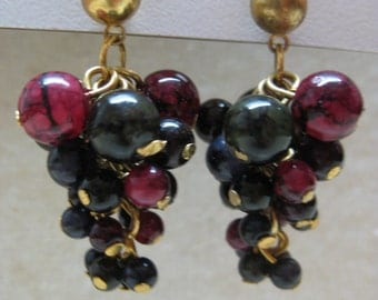 Black Maroon Cluster Dangle Earrings Pierced Post Vintage Gold