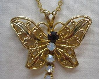 Butterfly Gold Amethyst Necklace Rhinestone Vintage Dangle Pendant