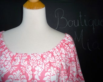 Scoop Neck Tunic TOP or DRESS - Michael Miller - Pink Damask - Made in ANY Size - Boutique Mia