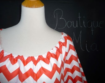 Scoop Neck Tunic TOP or DRESS - Riley Blake - Chevron in Rouge - Made in ANY Size - Boutique Mia