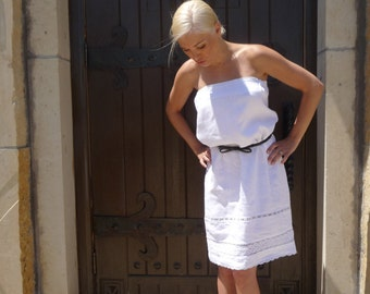 Strapless DRESS - Linen Mix with Extra Details - Made in ANY Size - Boutique Mia by CXV
