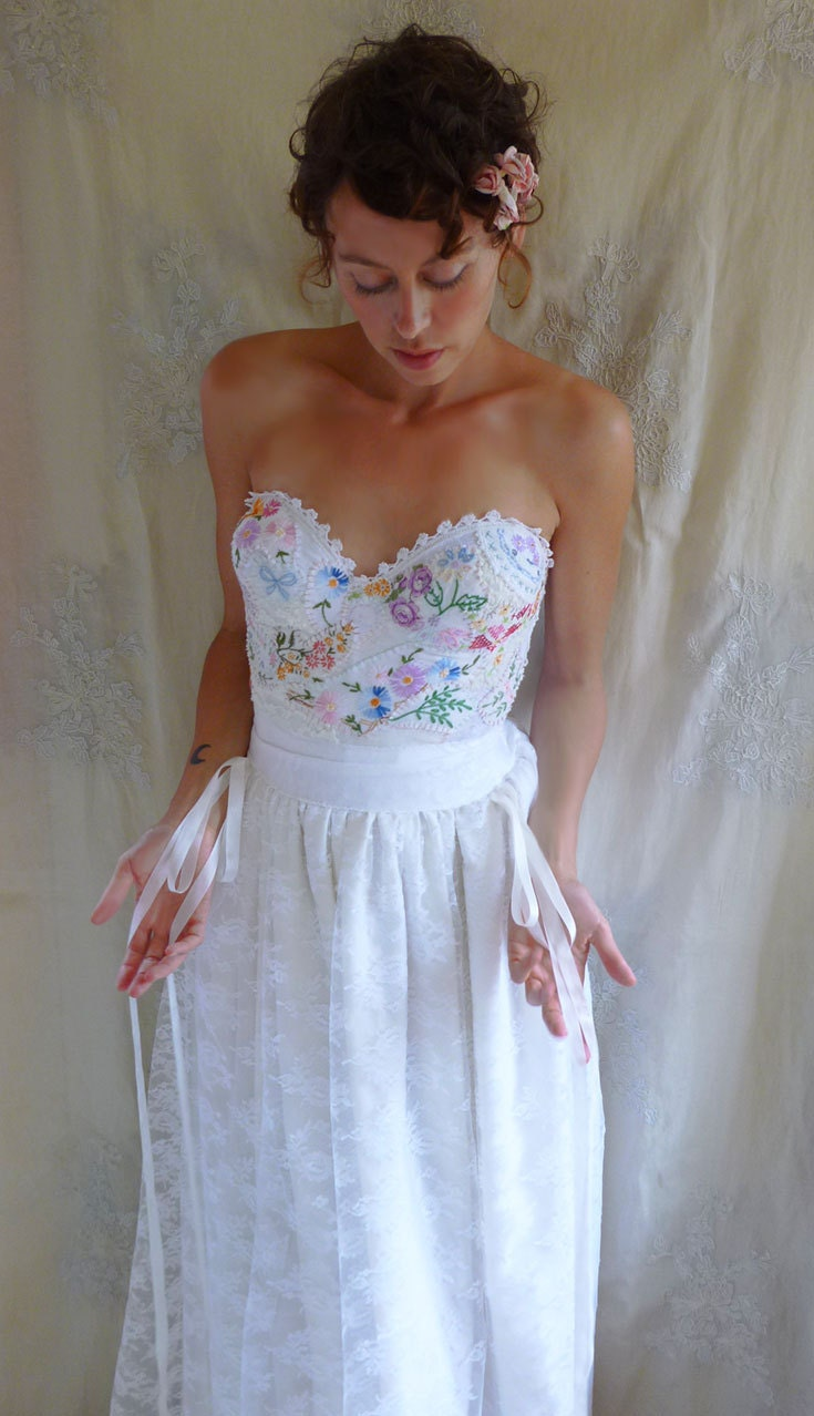 reserved meadow bustier wedding gown whimsical dress boho. Black Bedroom Furniture Sets. Home Design Ideas